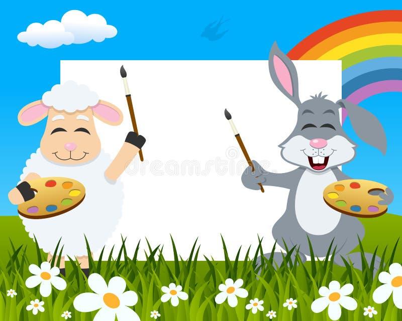 复活节水平的画家-羊羔&兔子 向量例证