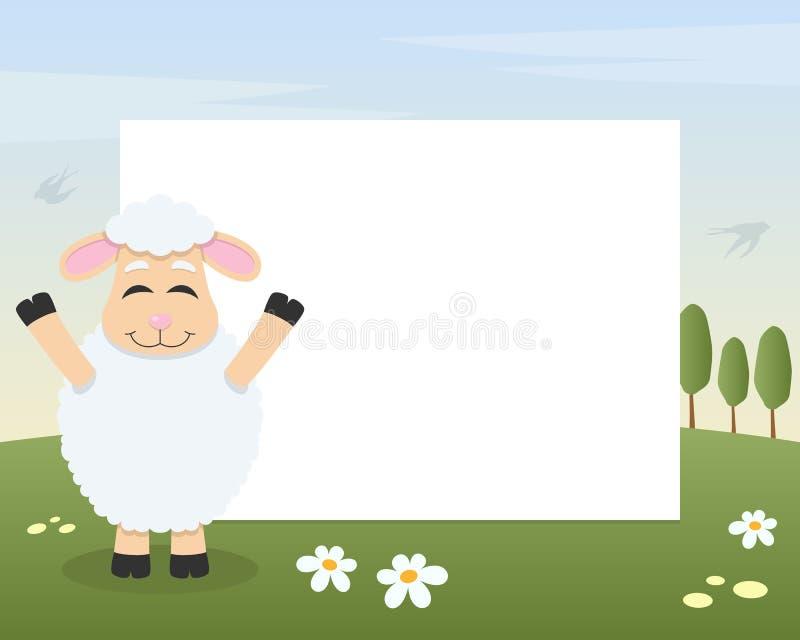 复活节滑稽的羊羔照片框架 皇族释放例证