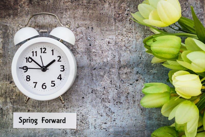 夏令时计时向前概念上面下来用白色时钟和绿色郁金香观看的春天 免版税库存图片
