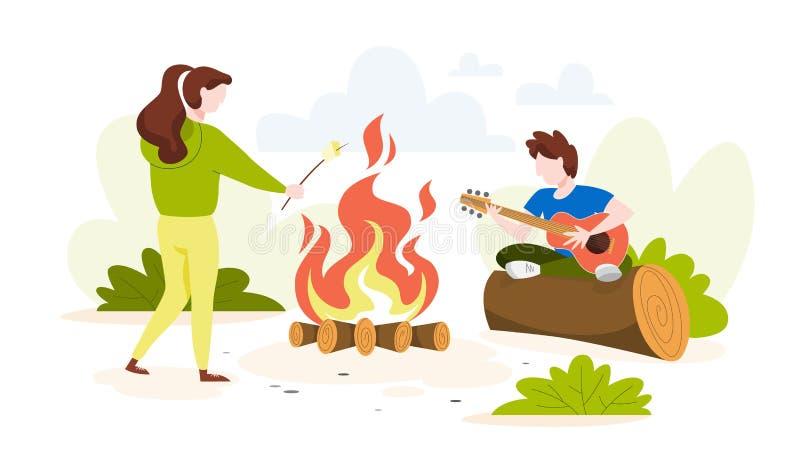 夏令营在营火的森林Touris里 库存例证