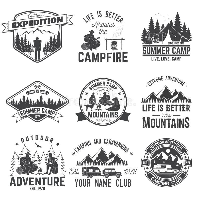 夏令营 也corel凹道例证向量 衬衣的概念或商标、印刷品、邮票或者发球区域 库存例证