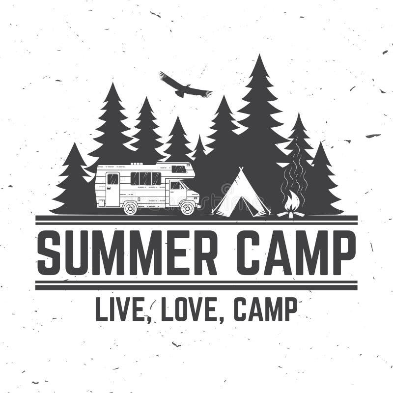 夏令营 也corel凹道例证向量 衬衣的概念或商标、印刷品、邮票或者发球区域 皇族释放例证