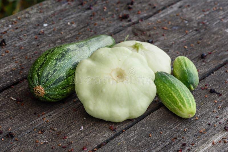 夏南瓜,从菜园床收获的两pattypan南瓜和黄瓜在木桌上说谎 图库摄影