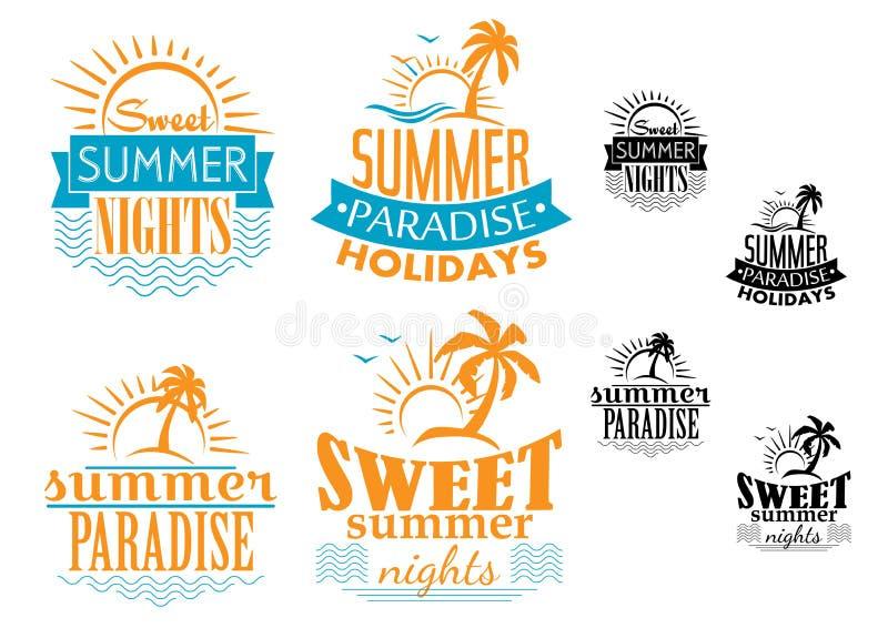 夏天、旅行和假期徽章 皇族释放例证