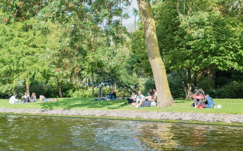 夏天下午人放松的stitting在沿着运河的树下 库存图片