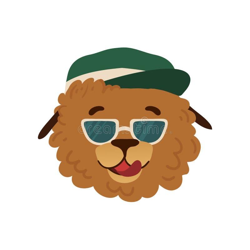 夏天与一条逗人喜爱的动画片狗的具体化设计在度假在一个绿色盖帽和太阳镜的 与滑稽的夏天印刷品 库存例证