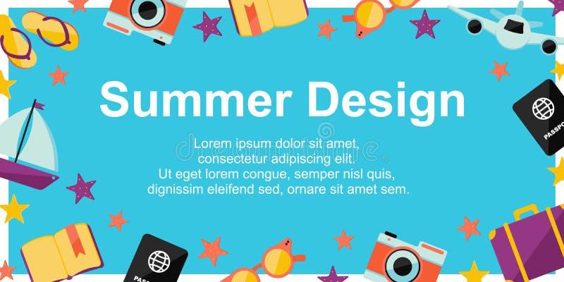 夏天与夏天元素的设计海报在蓝色背景 不同的设计的背景:卡片,海报,销售,新闻待售 向量例证