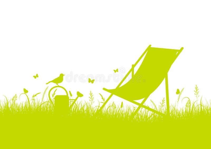 夏天与帆布椅子绿色横幅的草甸剪影 皇族释放例证