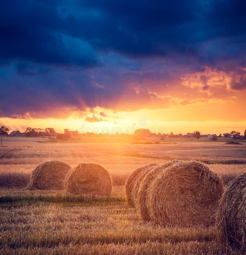 夏天与干草堆的农厂风景 日落视图 免版税库存图片