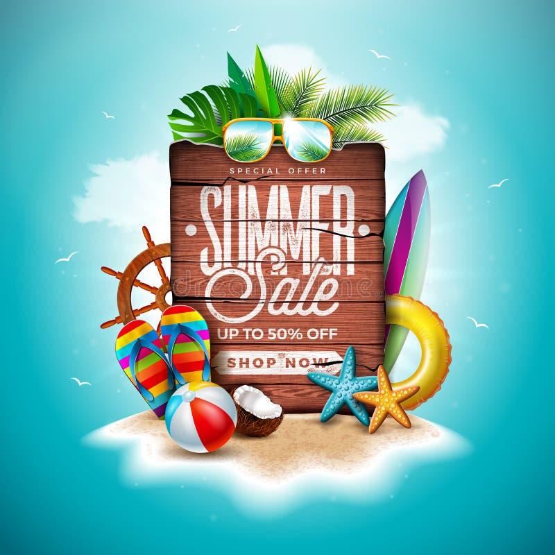 夏天与异乎寻常的棕榈叶的销售设计和在热带海岛背景的葡萄酒木板 传染媒介假日专辑 库存例证