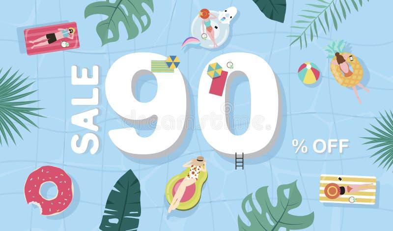 夏天与微小的人民,球,在顶视图水池的浮游物的销售背景 传染媒介夏天横幅 库存照片
