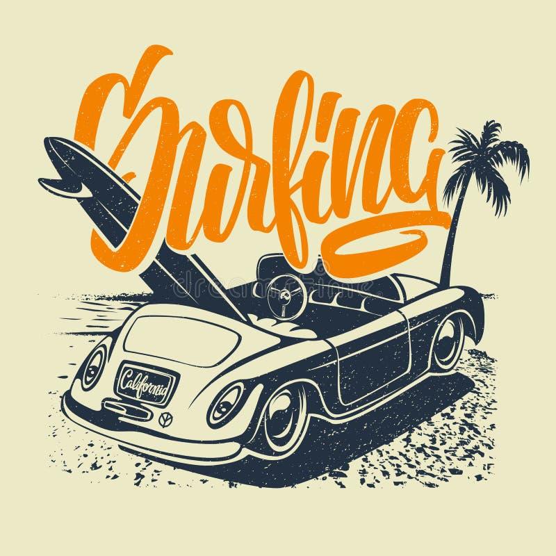 夏天与汽车、棕榈树和字法的海浪印刷品 向量Illustartion 库存例证