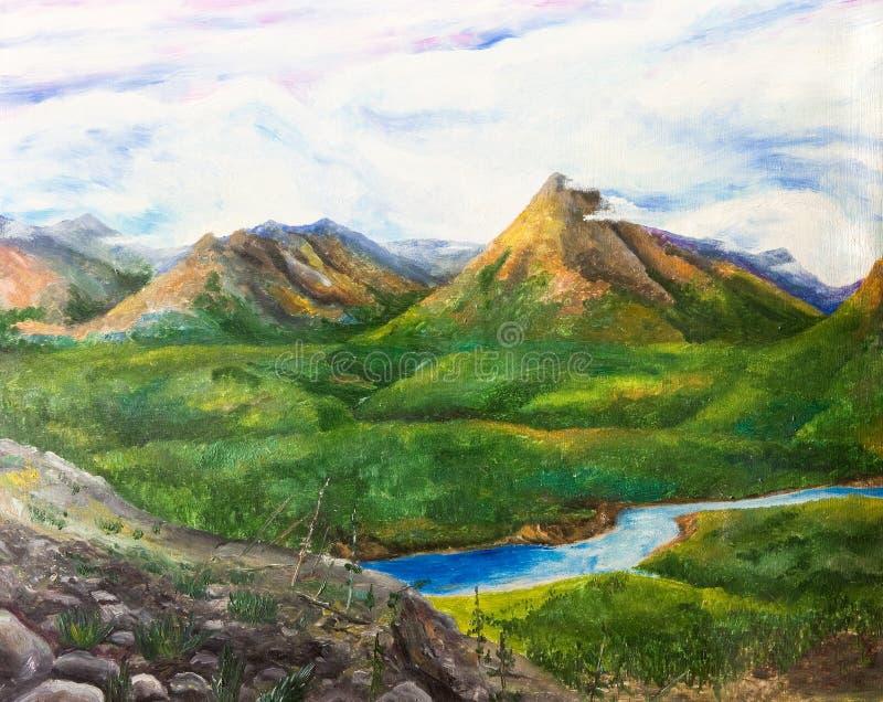 夏天与河的山风景 库存图片