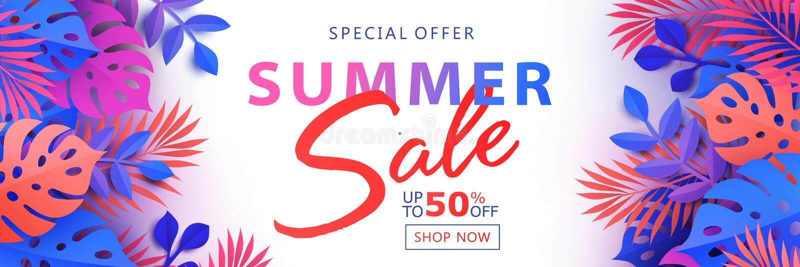 夏天与热带叶子、植物和棕榈叶的销售横幅在白色背景 向量例证