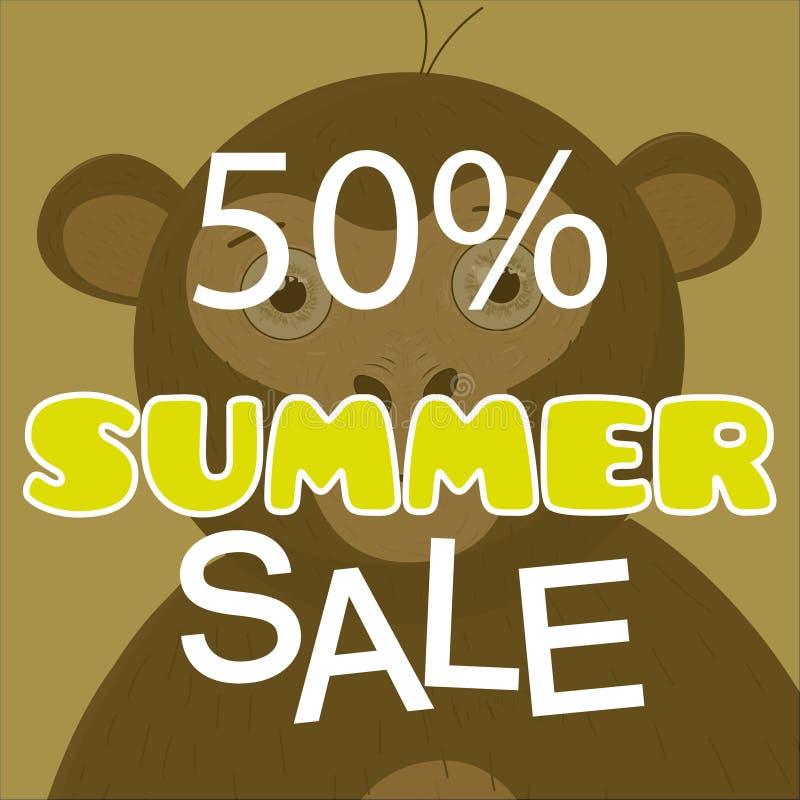 夏天与猴子传染媒介的销售海报 向量例证