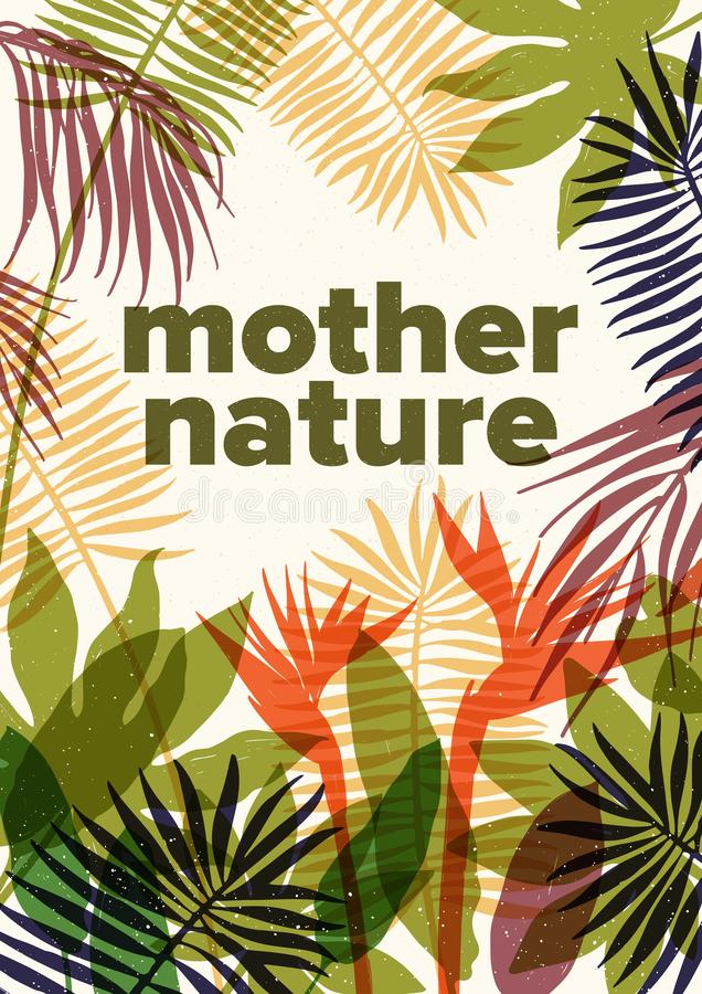 夏天与生长在热带的异乎寻常的植物和树透亮叶子的飞行物、海报或者明信片模板  皇族释放例证
