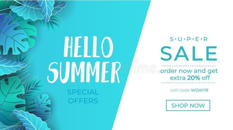夏天与纸的销售横幅切开了热带叶子 网、横幅,邀请的等异乎寻常的设计观念 时髦夏天 向量例证