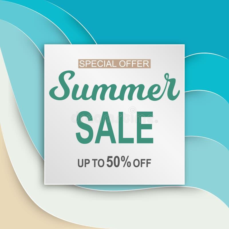 夏天与纸的销售横幅削减了在蓝色海的框架 向量例证