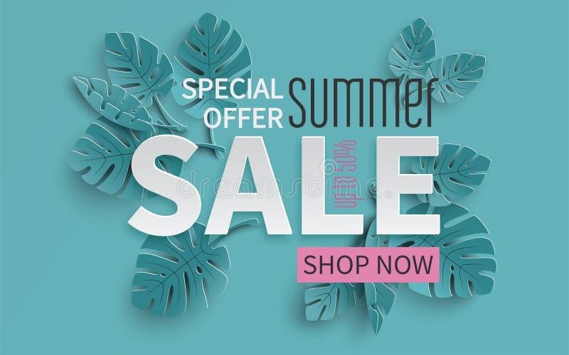 夏天与纸的销售横幅削减了热带叶子背景,横幅的,飞行物,邀请,海报,网站异乎寻常的花卉设计 库存例证
