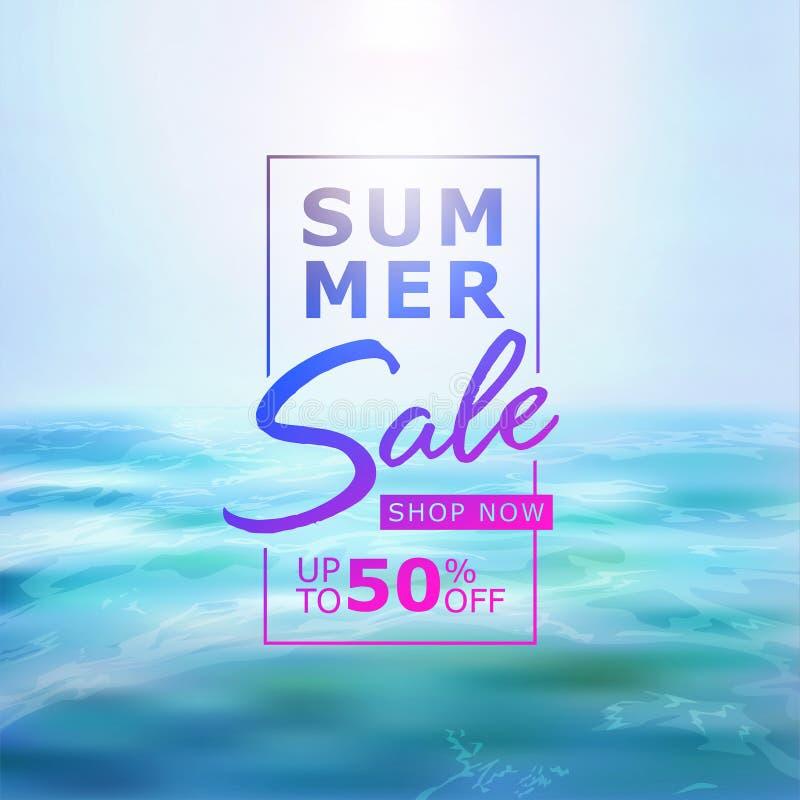 夏天与美丽的海、太阳聚焦和天空蔚蓝的销售横幅 库存例证