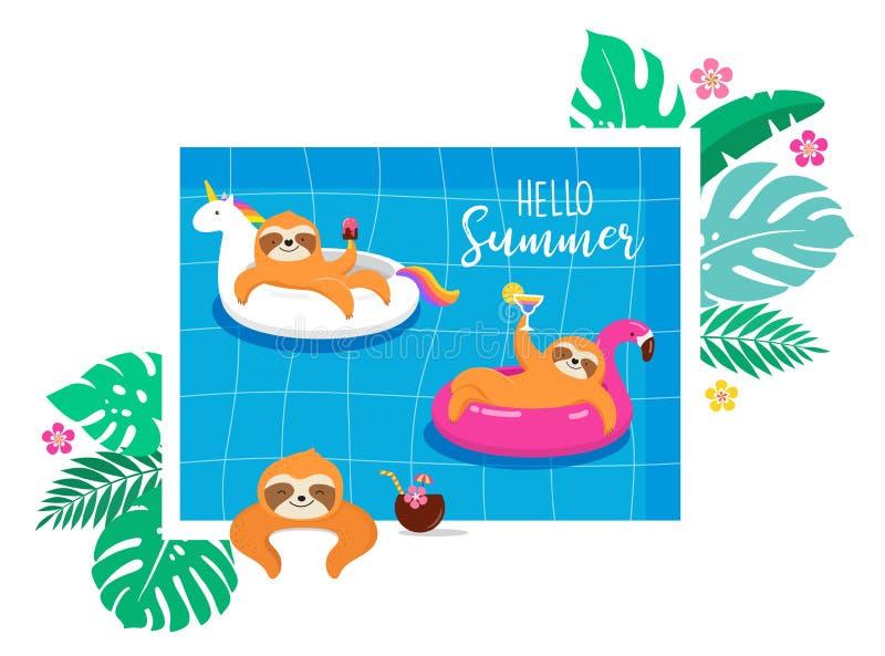夏天与考拉和怠惰逗人喜爱的字符的乐趣例证,获得乐趣 水池、海和海滩夏天活动 向量例证