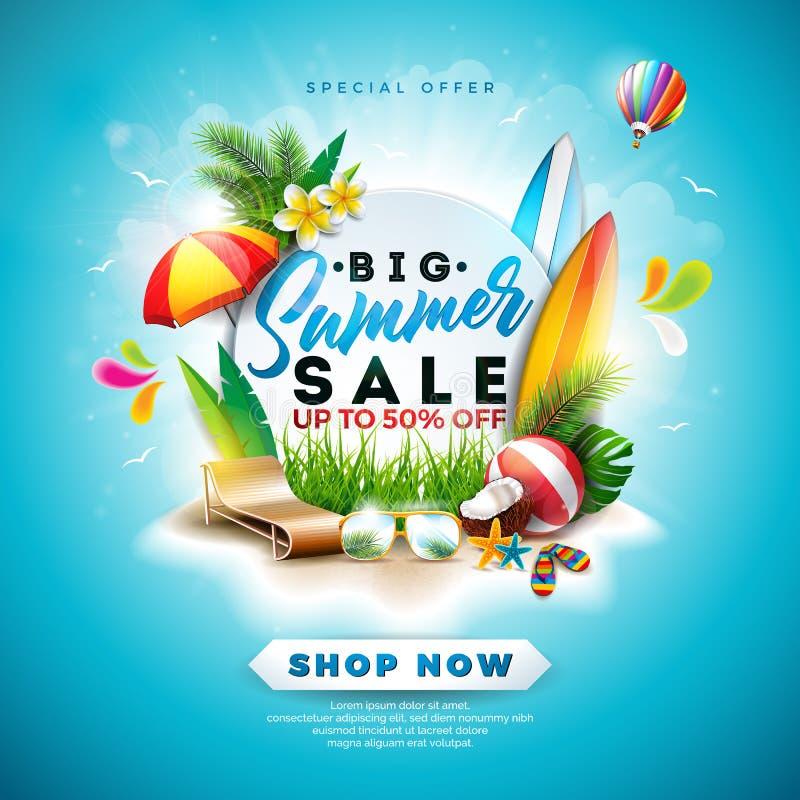 夏天与花、海滩假日元素和异乎寻常的叶子的销售设计在蓝色背景 热带花卉传染媒介 库存例证