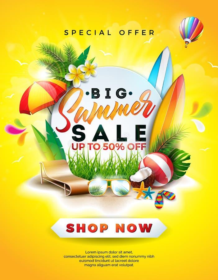 夏天与花、海滩假日元素和异乎寻常的叶子的销售设计在黄色背景 热带花卉传染媒介 向量例证