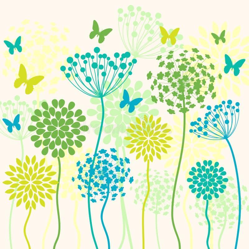 夏天与花和蝴蝶的传染媒介背景 向量例证