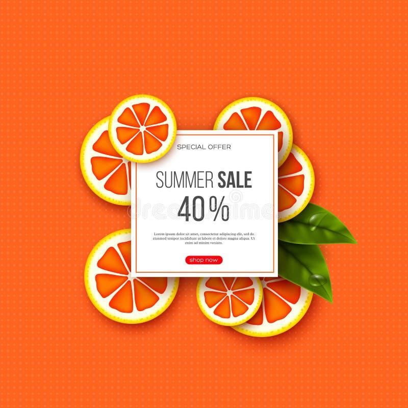 夏天与被切的葡萄柚片、叶子和光点图形的销售横幅 橙色背景-季节性的模板 向量例证