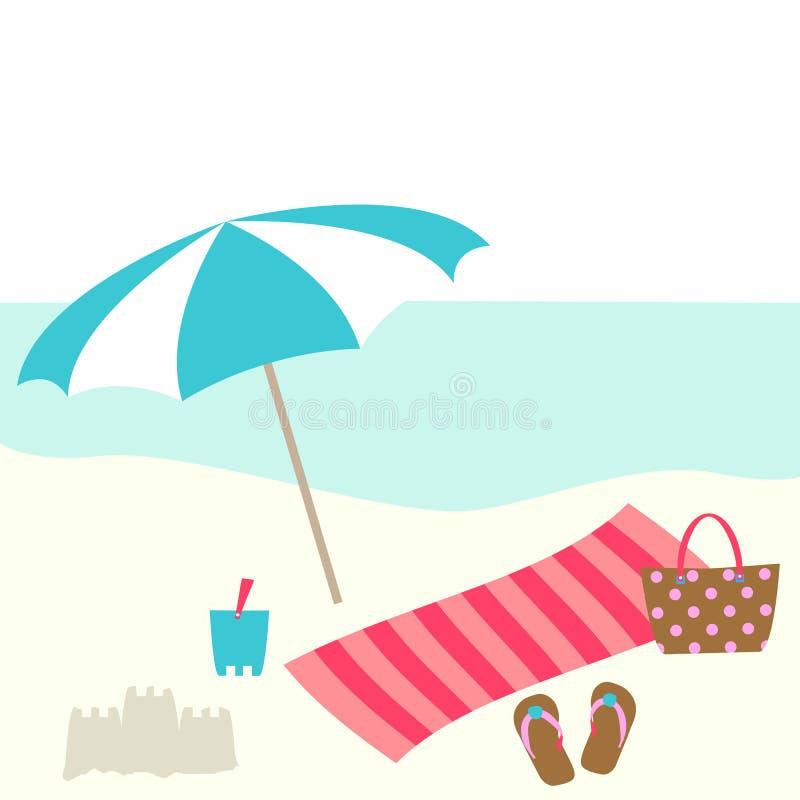 夏天与遮阳伞,袋子,毛巾,桶,在海滩的拖鞋的卡片设计 库存例证