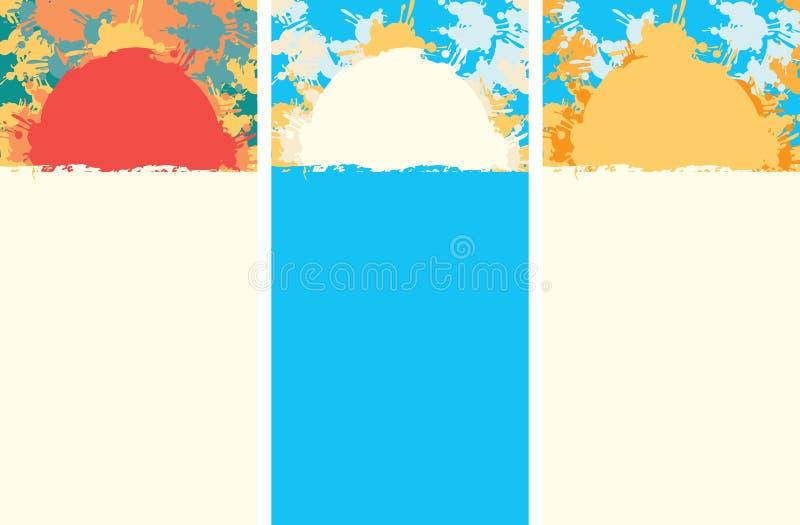 夏天与颜色的旅行横幅察觉并且飞溅 库存例证