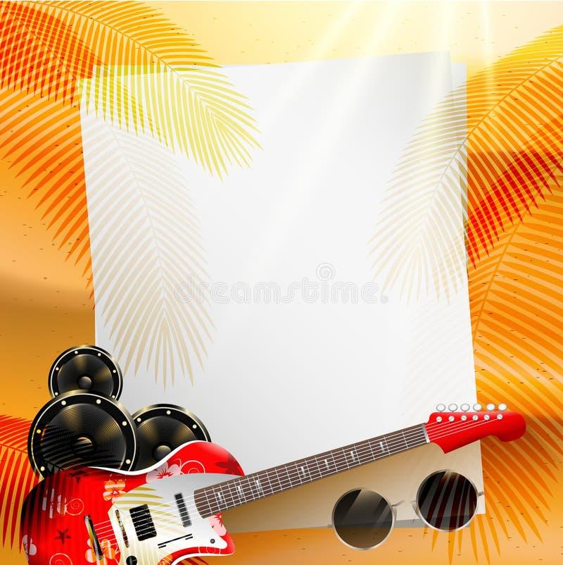 夏天与仪器的音乐背景 向量例证