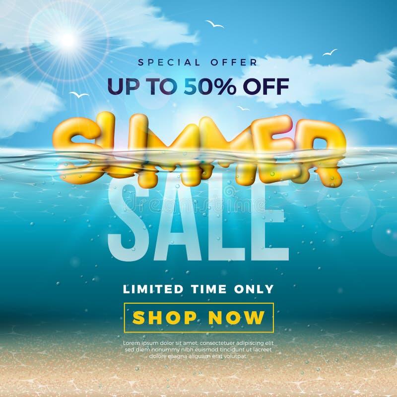 夏天与3d印刷术信件的销售设计在水下的蓝色海洋背景中 传染媒介特价例证与 皇族释放例证