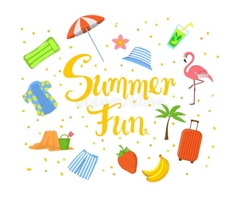 夏天乐趣手书面夏令时海滩背景用香蕉、草莓、人夏威夷衬衣和树干,手提箱,棕榈树, 库存例证