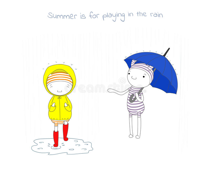 夏天乐趣雨 库存例证
