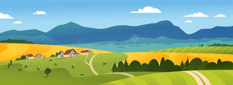 夏天乡下自然视图的传染媒介平的风景例证:天空、山、舒适村庄房子、母牛、领域和草甸 库存例证