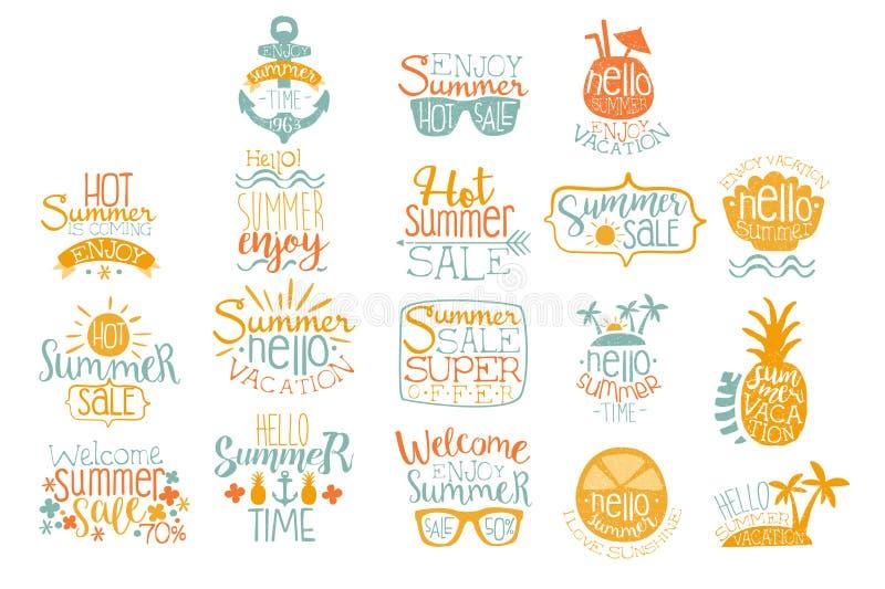 夏天书法商标设计的手拉的元素 海滩假期和热的销售概念 与鸡尾酒的字法 向量例证