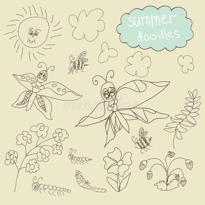 概述不同的蝴蝶, ather昆虫,太阳,云彩,分支,花.导航动画片例证