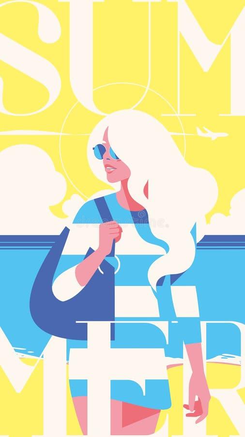 夏天休假和夏令营故事模板 海日落,走在海滩的女孩 r 向量例证