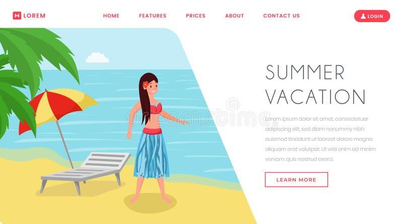 夏天休假在登陆页的热带 在豪华海滨平的夏令时海洋岸的放松的手段假期 库存例证