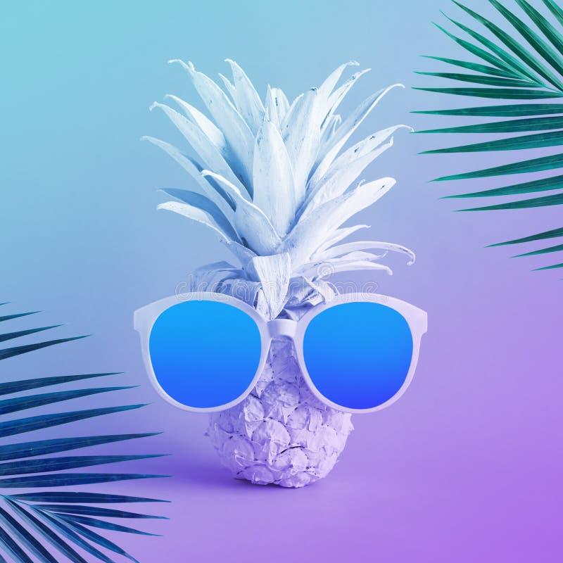 夏天休假概念用异乎寻常的菠萝和太阳镜和椰子叶子在淡色 免版税库存图片