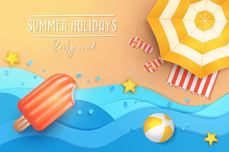 夏天休假横幅设计 纸与伞、触发器、球和游泳气垫的裁减热带海滩顶视图背景 皇族释放例证