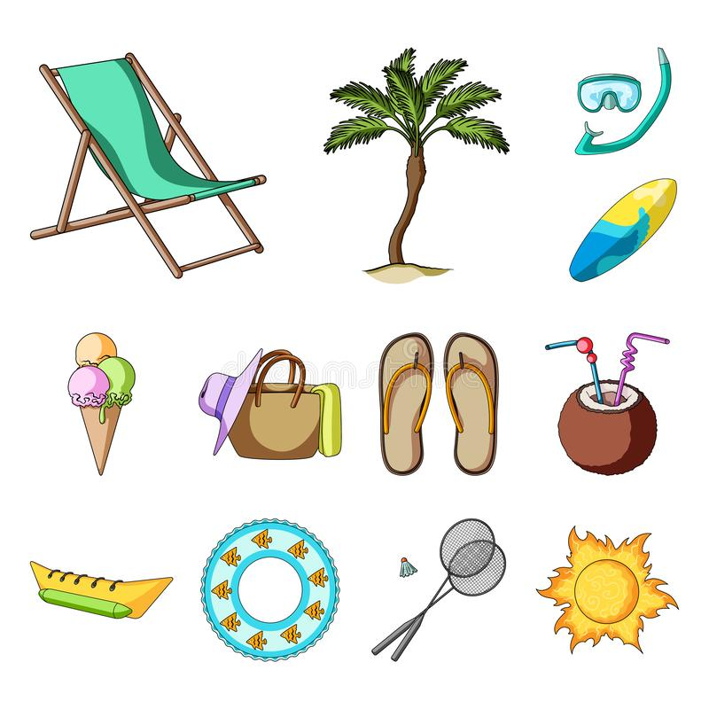 夏天休息在集合汇集的动画片象的设计 海滩辅助传染媒介标志股票网例证 皇族释放例证