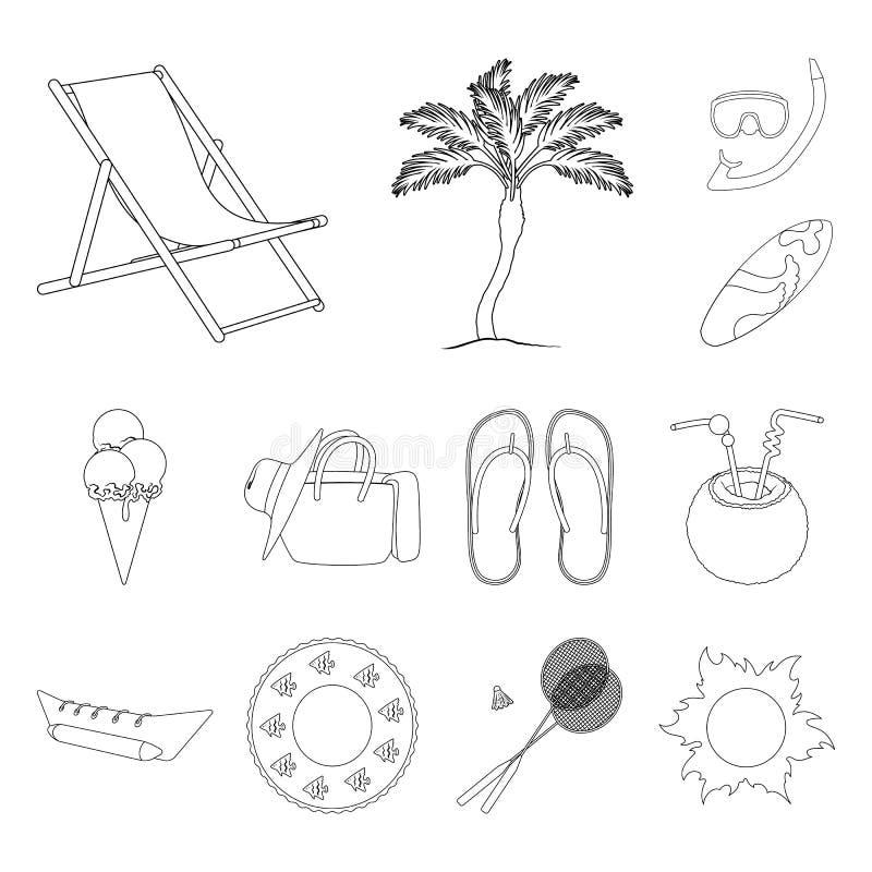 夏天休息在集合汇集的概述象的设计 海滩辅助传染媒介标志股票网例证 皇族释放例证