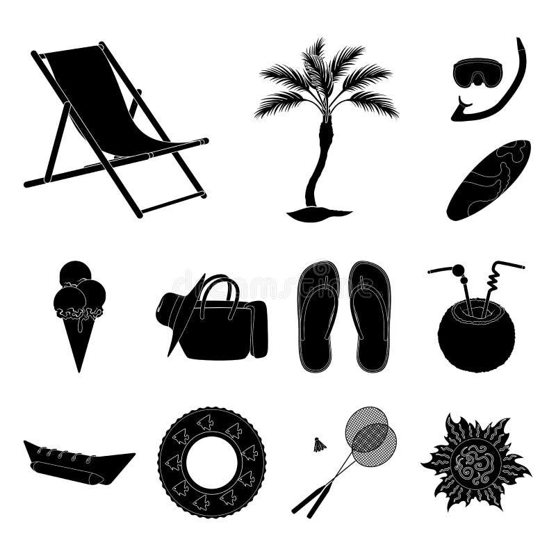 夏天休息在集合汇集的黑色象的设计 海滩辅助传染媒介标志股票网例证 库存例证
