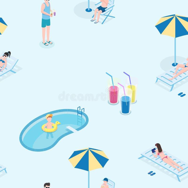夏天休闲平的传染媒介无缝的样式 年轻游人休息在水池手拉的纹理,假期,旅游业 皇族释放例证