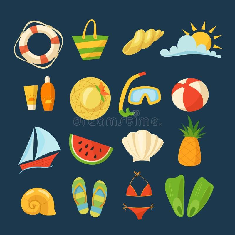 夏天传染媒介设置用食物、玩具、衣裳和标志在动画片样式 库存例证
