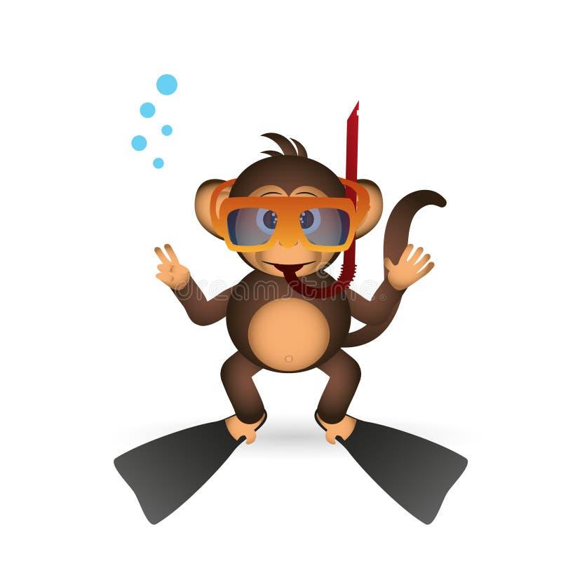 夏天体育小的猴子的逗人喜爱的黑猩猩潜水者 皇族释放例证