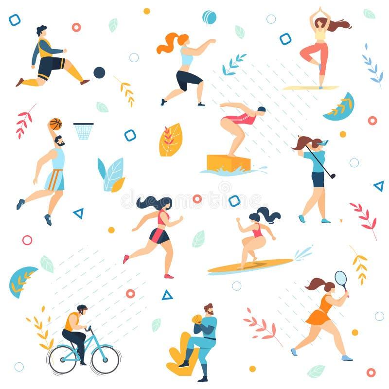 夏天体育活动无缝的样式,印刷品 库存例证