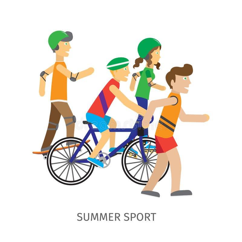 夏天体育 孩子向体育求助 向量例证
